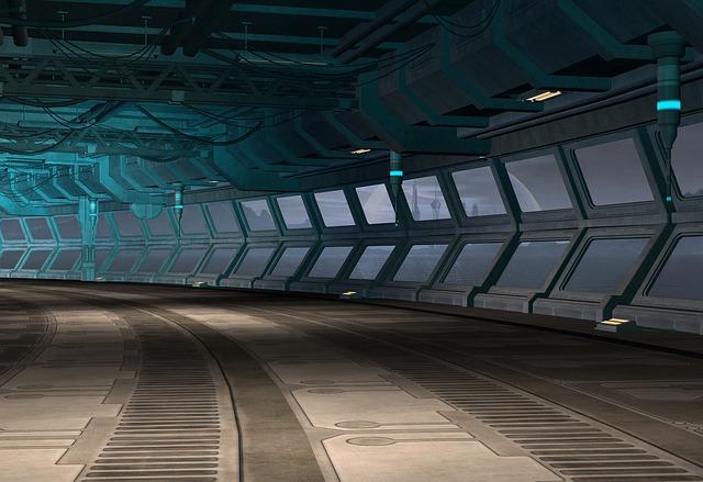 empty hall of spaceship